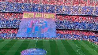 El mosaico del Camp Nou antes del Clásico.
