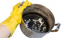 cómo limpiar una olla quemada por dentro