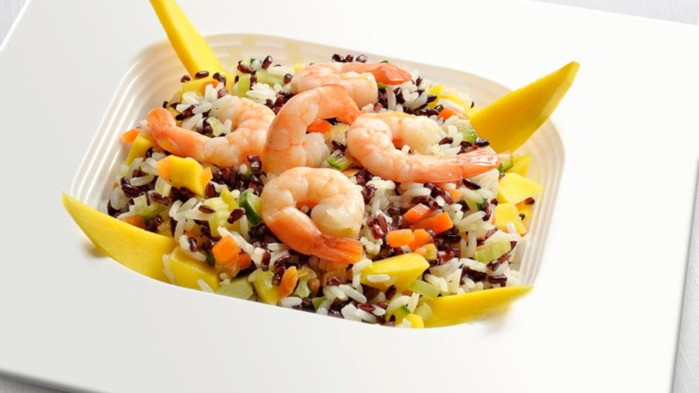 Receta de Ensalada templada de arroz basmati con langostinos