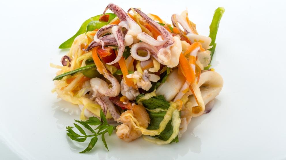 Receta de ensalada frutos del mar.