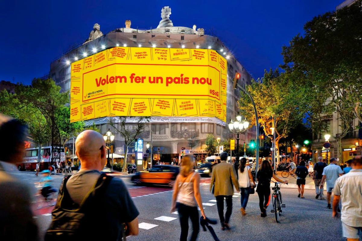 Publicidad a favor de la independencia, en uno de los edificios más emblemáticos de Barcelona