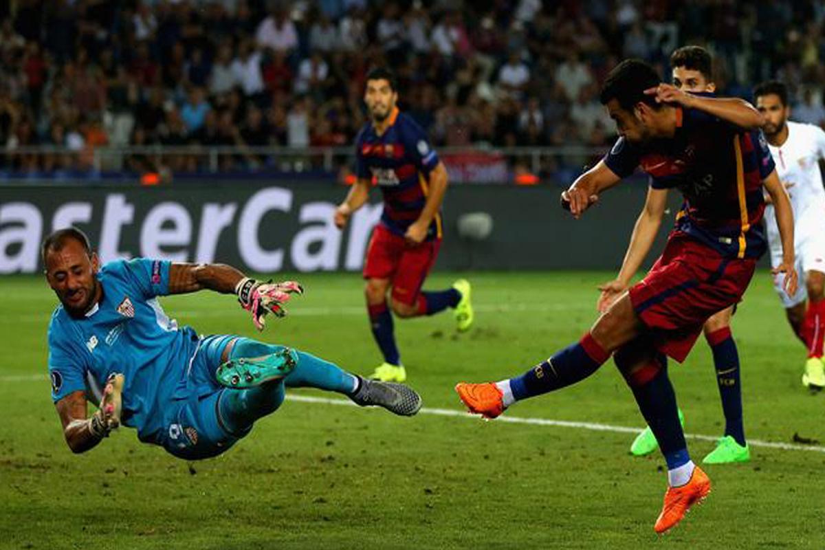 Pedro batió al Sevilla con este disparo en la prórroga (Foto: Agencias).