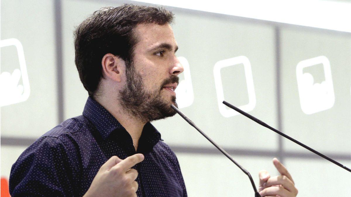 Alberto Garzón en un mitin de IU. (EFE)