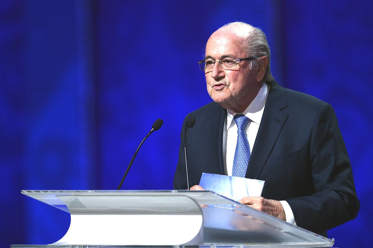 Joseph Blatter, en la presentación del Mundial de Rusia 2018