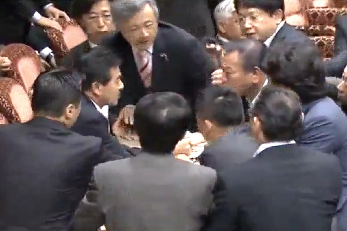 Parlamentarios japonés forcejeando.