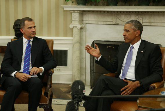 El Presidente Barack Obama con el Rey Felipe en su visita a Washington.