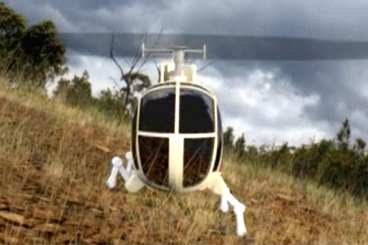 Helióptero con patas de insecto