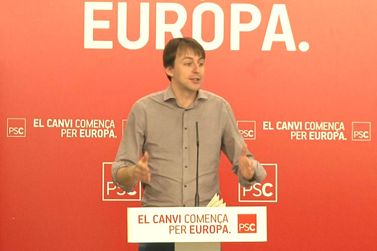 Javier López en un mitin como candidato en las elecciones europeas de 2014. (Foto: PSC)