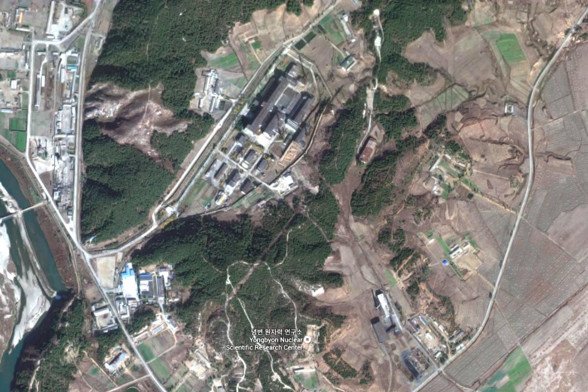Instalación de investigación nuclear en Yongbyon, Corea del Norte. (Google Maps)