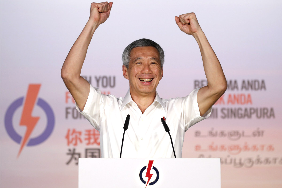 El primer ministro de Singapur Lee Hsien durante un mitin en campaña electoral (Foto: Reuters)