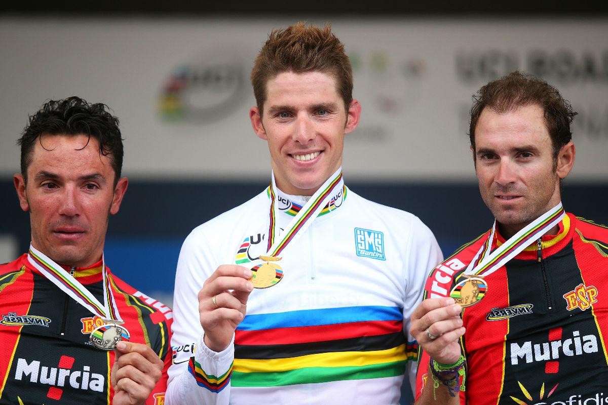 Purito y Valverde comparten podio con Rui Costa en el Mundial de 2013.