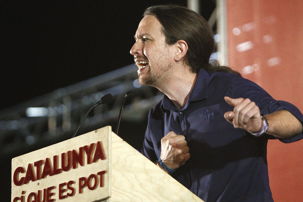 Pablo iglesias durante un mitin en Cataluña. (foto:EFE)