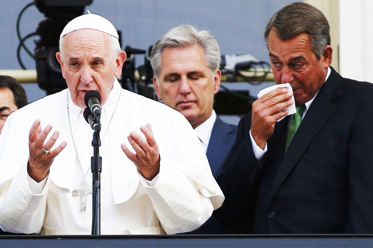 John Boehner, con el Papa un día antes de presentar su dimisión (Foto: Reuters)