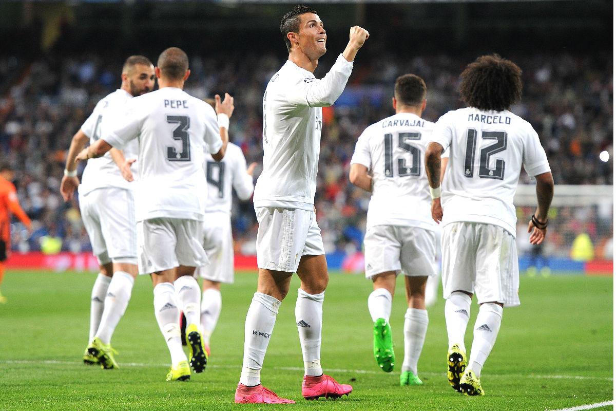 Cristiano celebra uno de los tres goles que marcó ante el Shakhtar en la primera jornada de Champions. (Getty)
