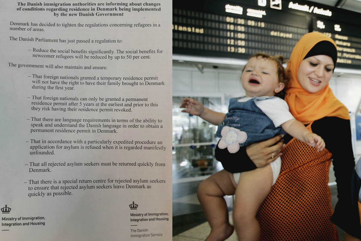 A la izquierda, el anuncio aparecido en la prensa libanesa. A la derecha, una madre libanesa y su bebé llegando a Alemania (Getty)