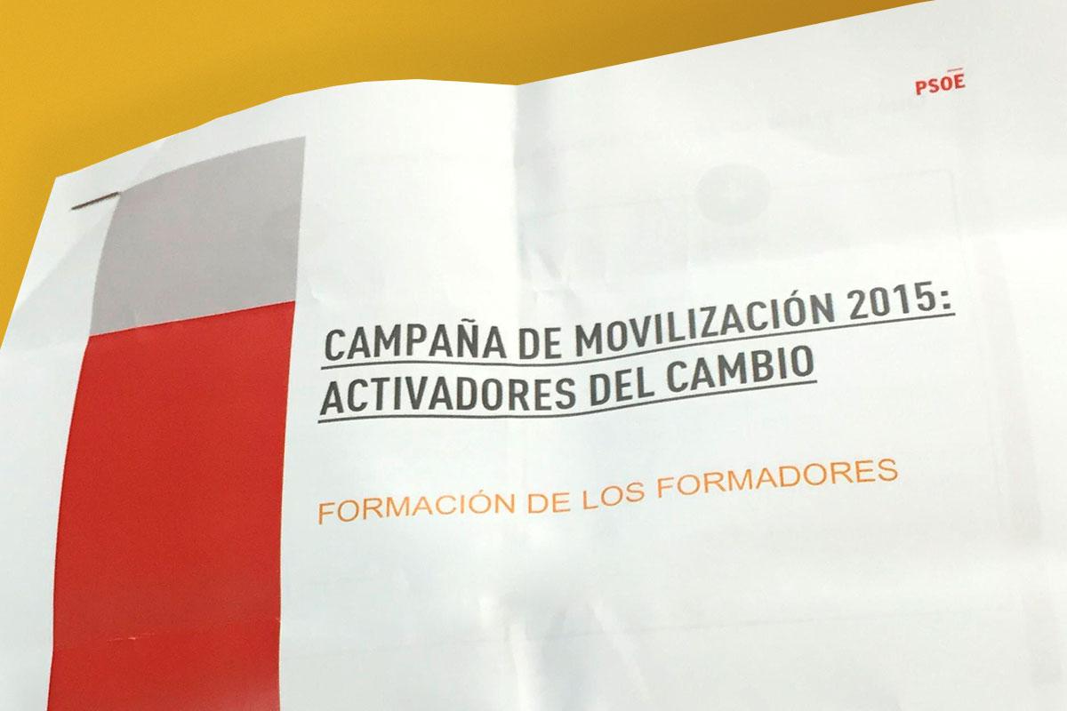 Portada del documento que detalla la estrategia del PSOE para las Generales