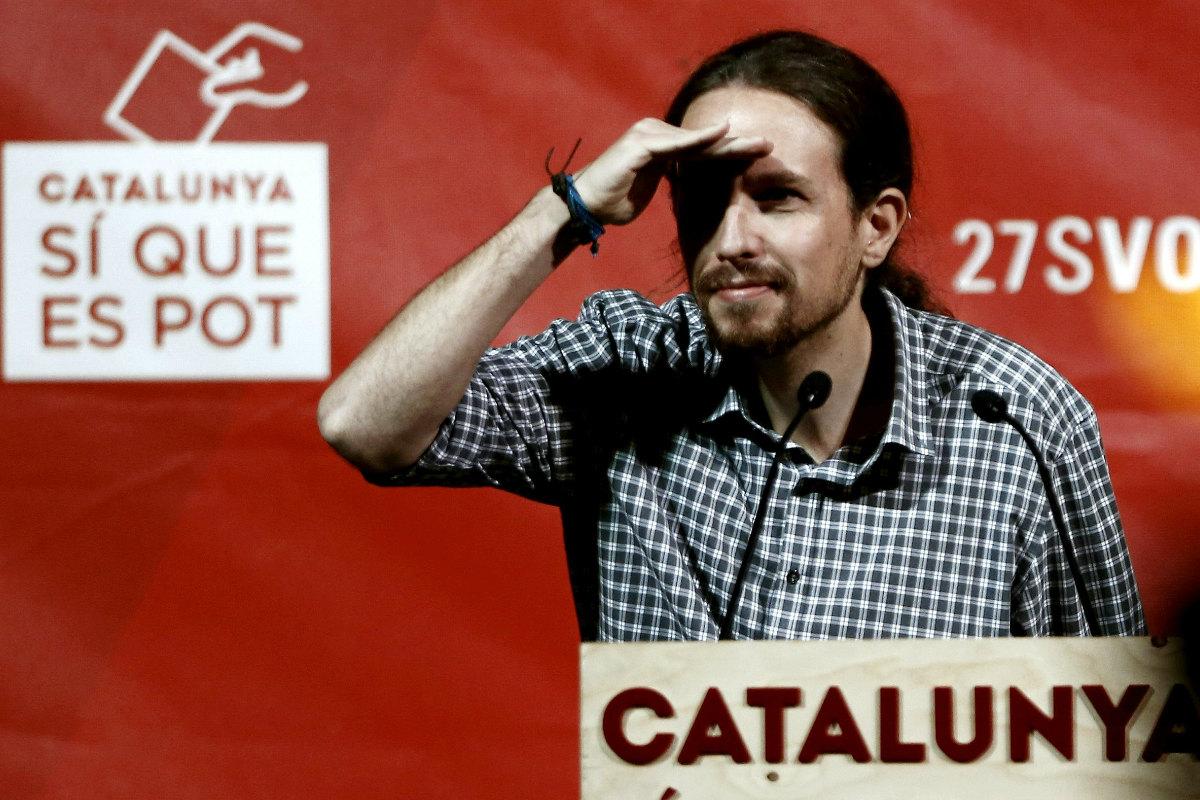 Pablo Iglesias, durante el mitin de Catalunya Sí que es Pot. (Foto: Efe)
