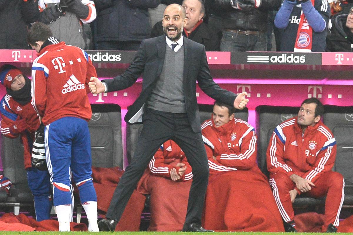 Pep Guardiola celebra un gol del Bayern. (Getty)