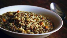 Receta de arroz con lentejas, pimiento y pollo