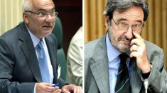 El ex presidente de Caixa Catalunya, Narcís Serra (d), y el ex director general, Adolf Todó (i). (Foto: EFE)