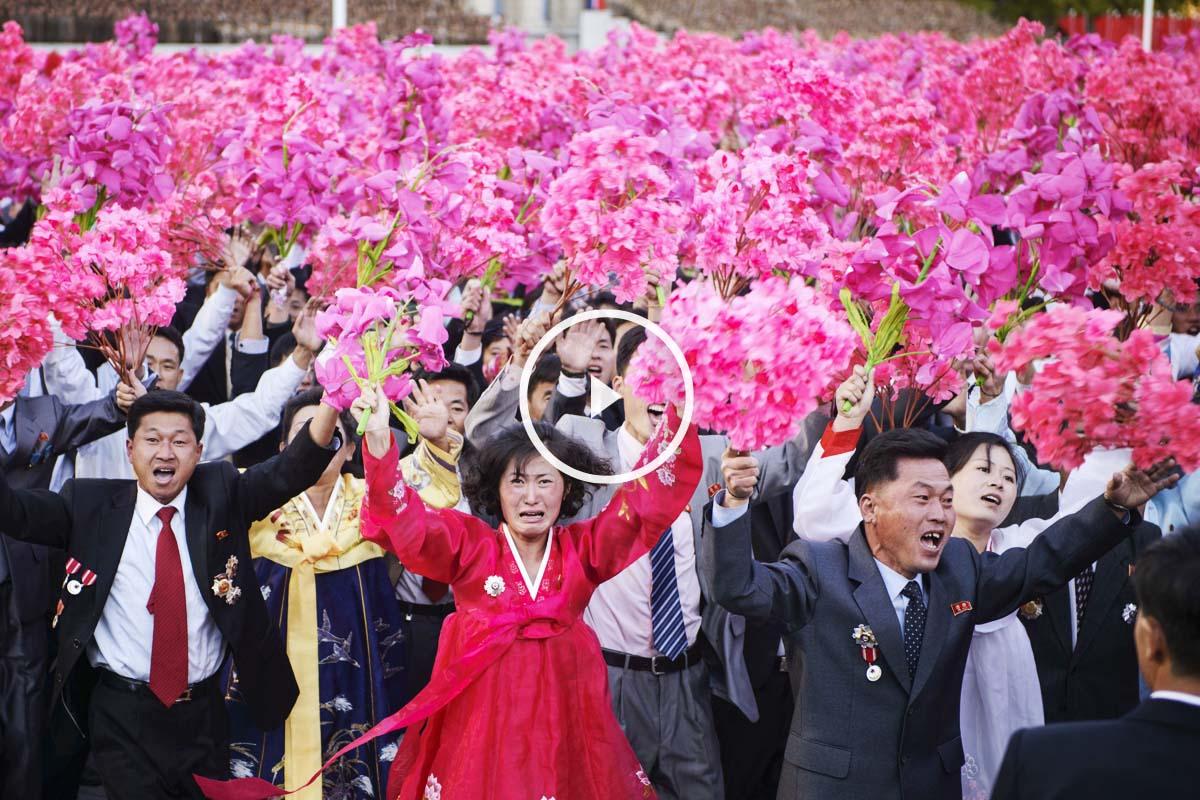 Ciudadanos norcoreanos celebrando el 70 aniversario del Partido de los Trabajadores. (Foto: AFP)