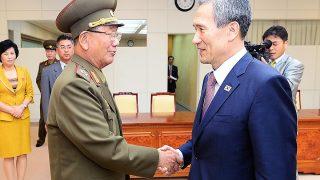 El asesor presidencial de Corea del Norte y el ministro de Reunificación de Corea del Sur acordaron retomar conversaciones en octubre (Getty)