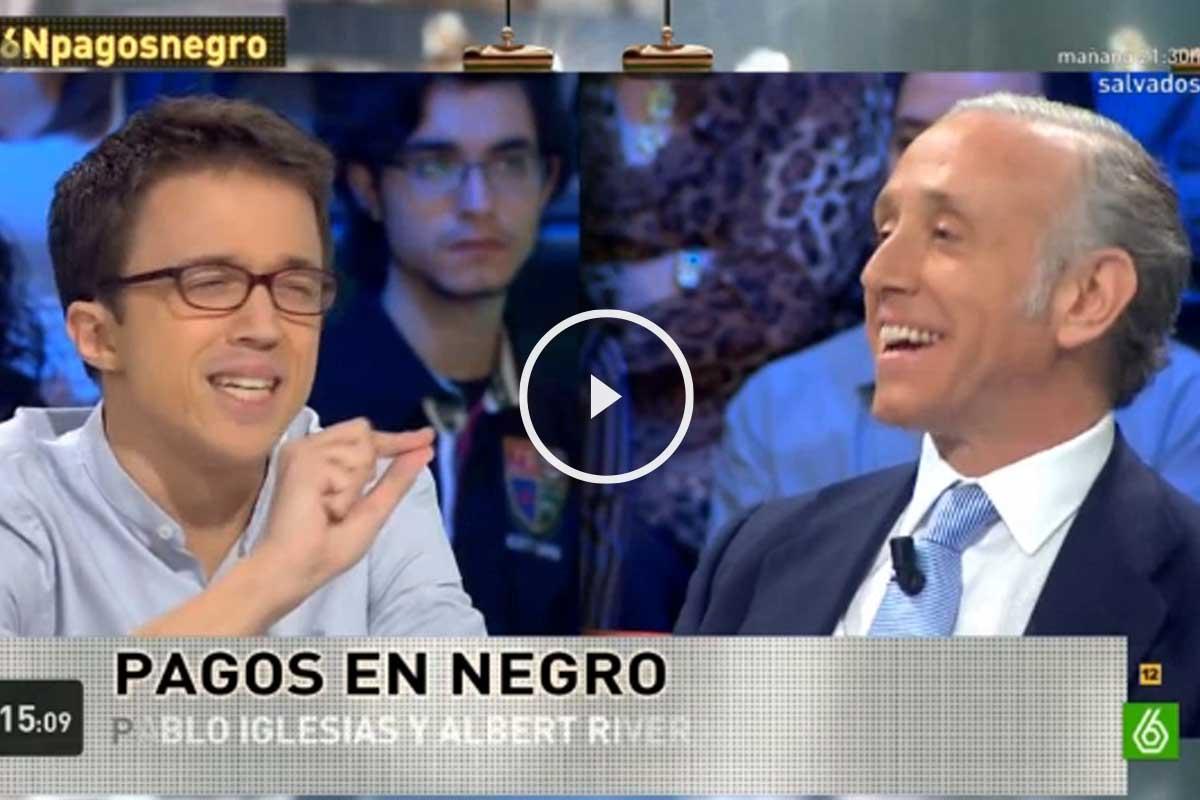 Errejón intenta justificar los pagos en negro de Pablo Iglesias y Eduardo Inda le responde. (Foto: La Sexta)