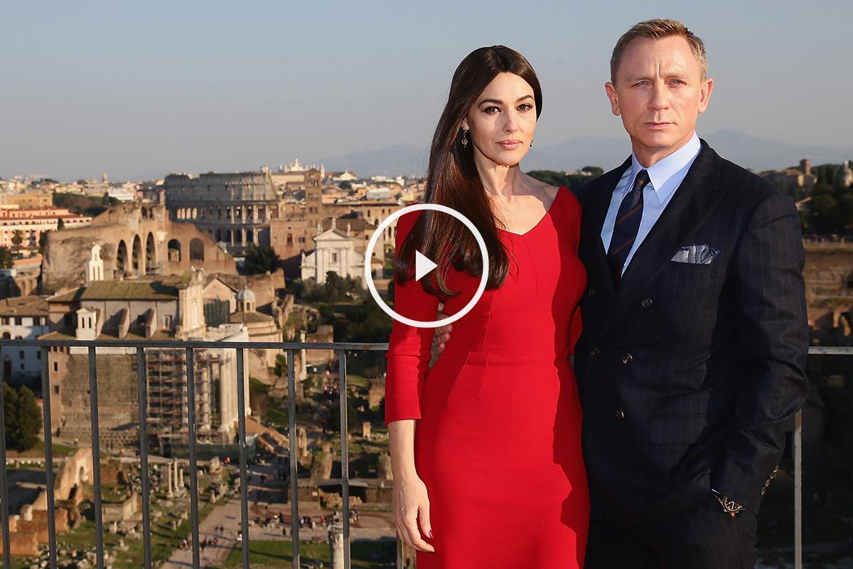 Daniel Craig y Monica Bellucci promocionando 'Spectre'