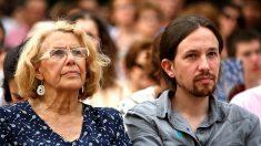 La alcaldesa de Madrid, Manuela Carmena, en un mitin con Pablo Iglesias. (Foto: GETTY)
