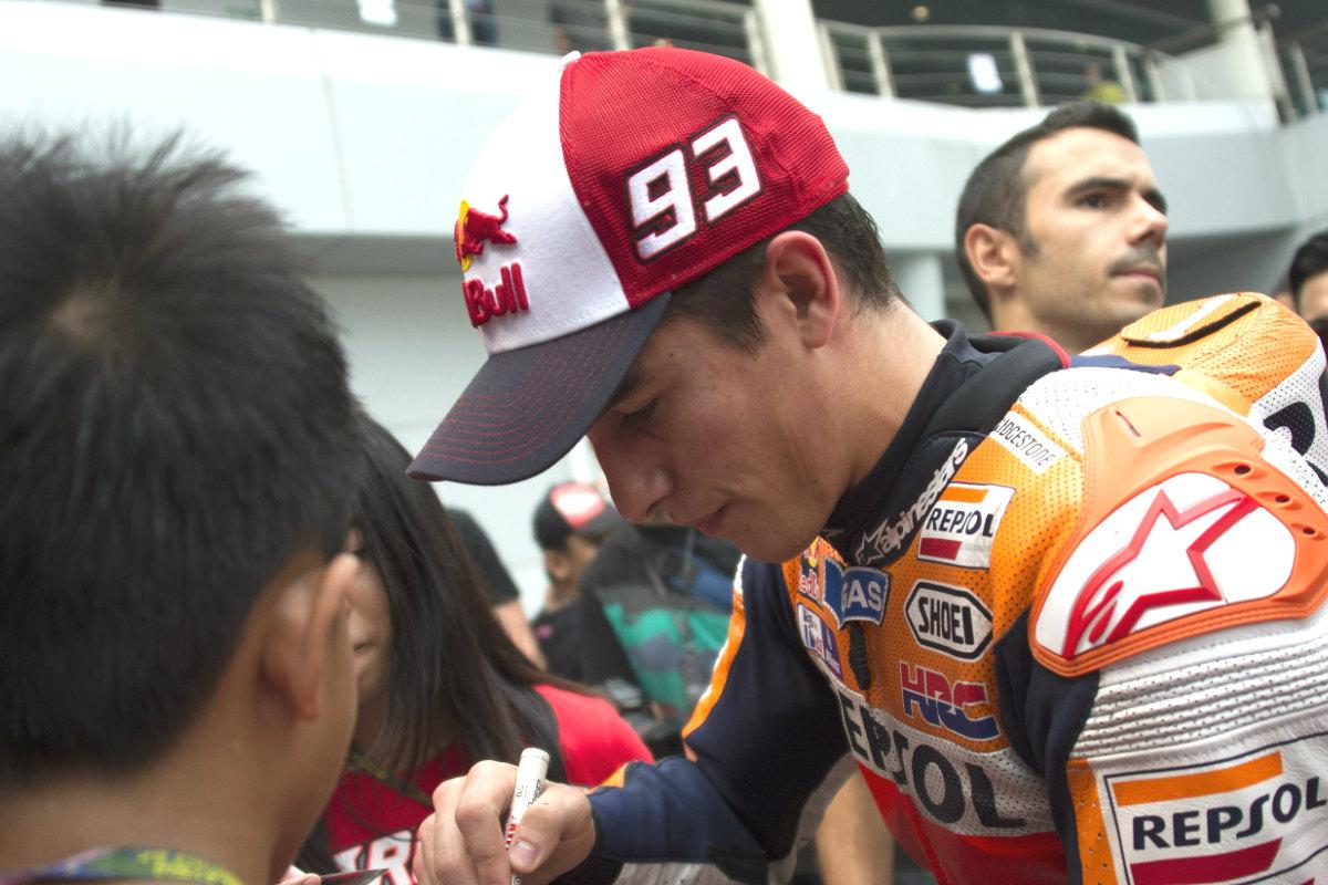 Marc Márquez, serio en el GP de Malasia.