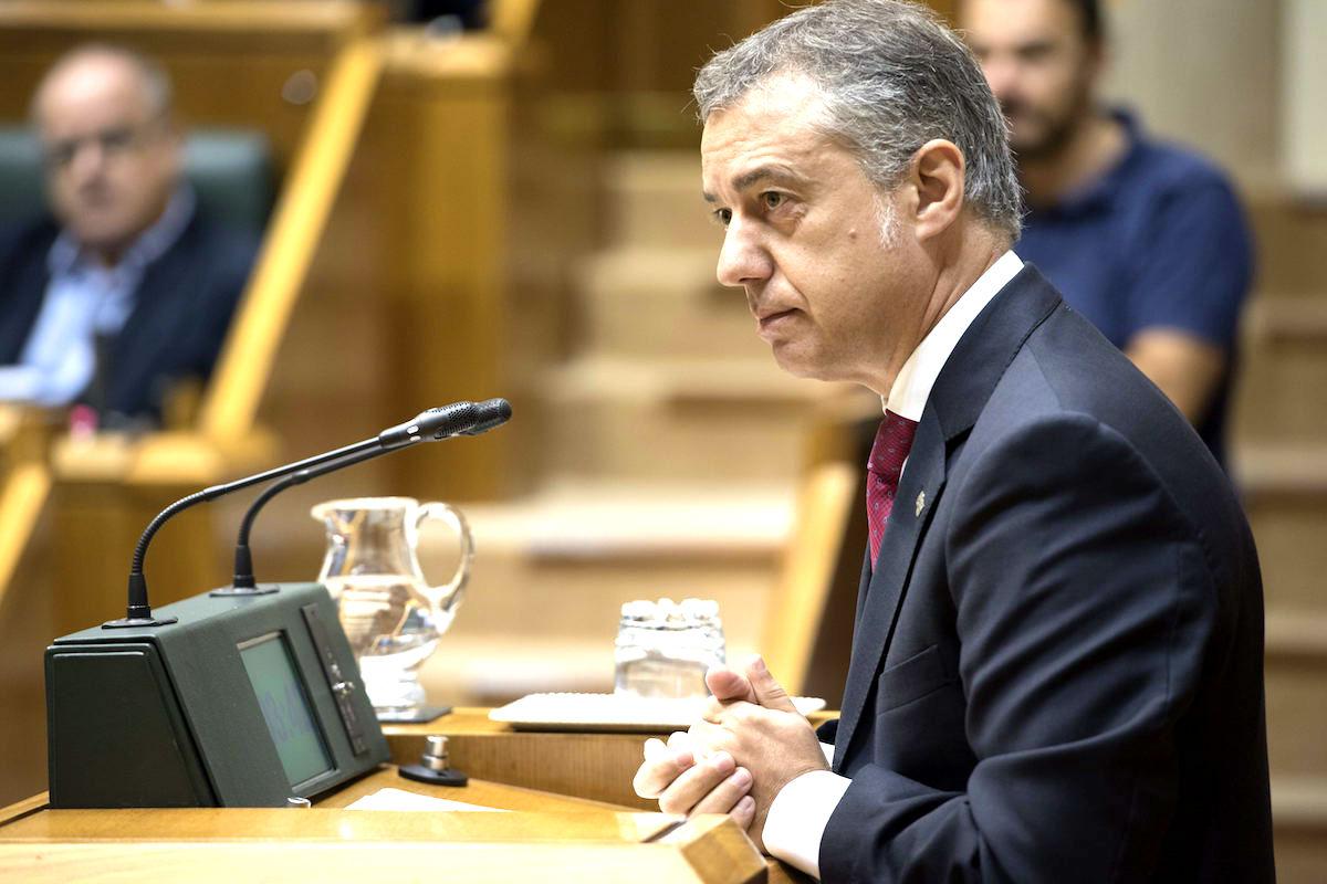 El lehendakari, Iñigo Urkullu, en el Parlamento Vasco. (Foto: EFE)