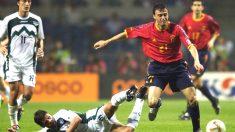 Luis Enrique durante su etapa como futbolista con la selección española (Getty)