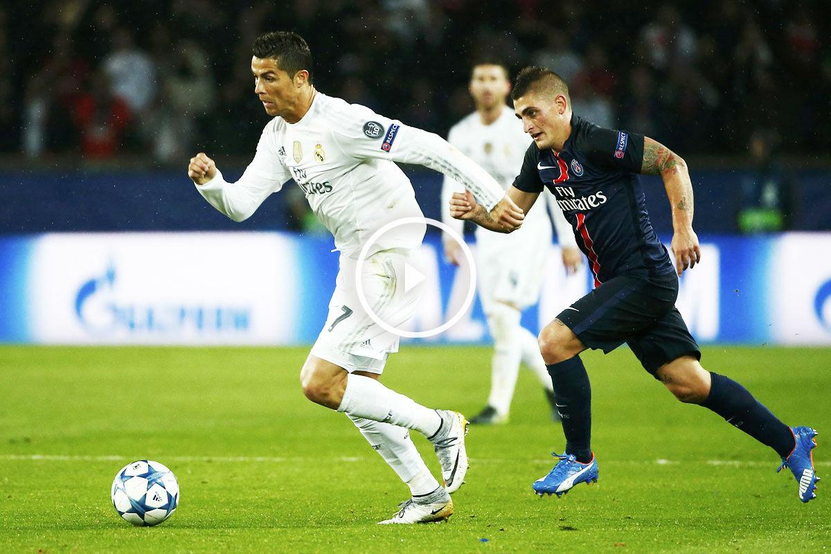 Cristiano Ronaldo trata de irse de Verratti en el empate blanco en Paris (Foto: Reuters)