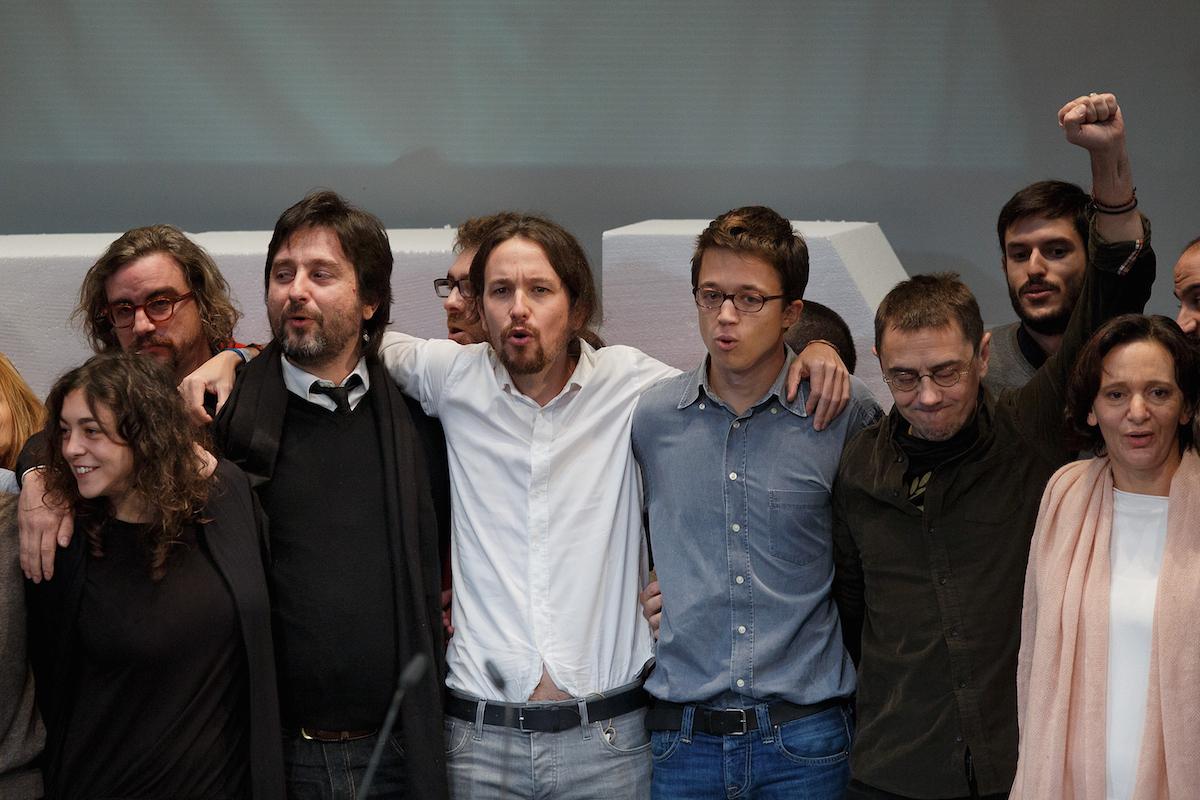 Pablo Iglesias junto a Monedero e Íñigo Errejón, en un acto de Podemos (Foto: Pedro Blázquez/Getty)