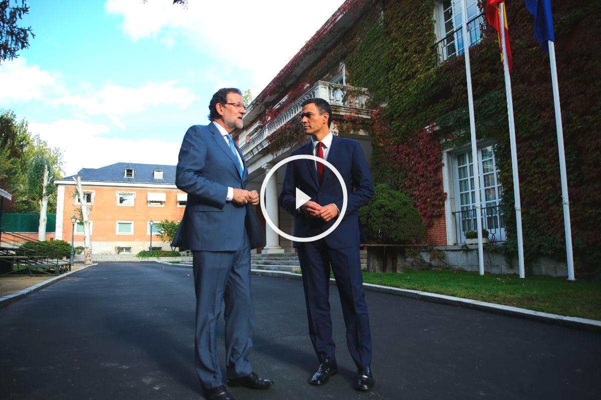 Pedro Sánchez visita La Moncloa para almorzar con Rajoy y abordar la independencia de Cataluña. (Foto: EFE)