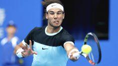 Rafa Nadal, en pleno esfuerzo en su duelo con Djokovic