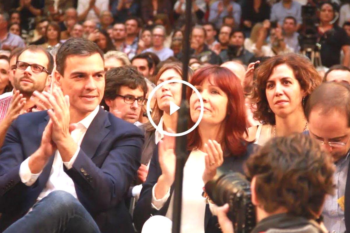 Pedro Sánchez en el acto de presentación de candidaturas. (Foto: Enrique Falcón)