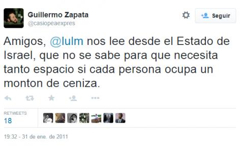 Carmena seguía a Zapata en Twitter cuando el edil se mofó del Holocausto