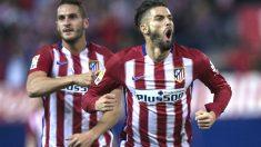 Carrasco celebra su gol ante el Valencia con Koke detrás (Getty)