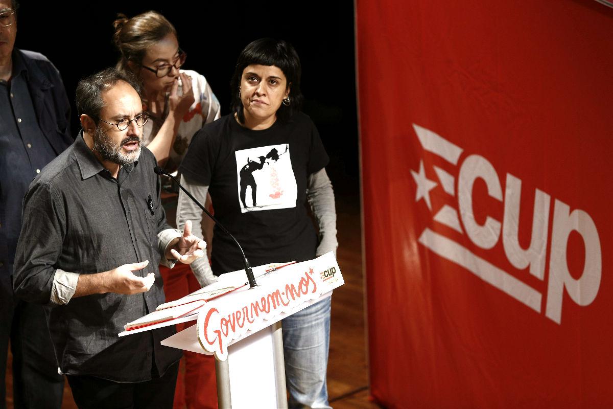 El diputado de la CUP Antonio Baños, durante la campaña electoral (Foto: Efe)