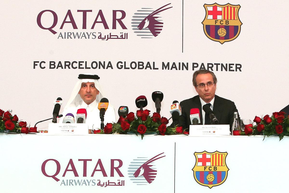 Javier Faus, ex vicepresidente del Barcelona, durante un acto con Qatar Airways. (AFP)