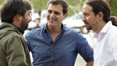 Jordi Evole junto a Albert Rivera y Pablo Iglesias. (Foto: La Sexta)