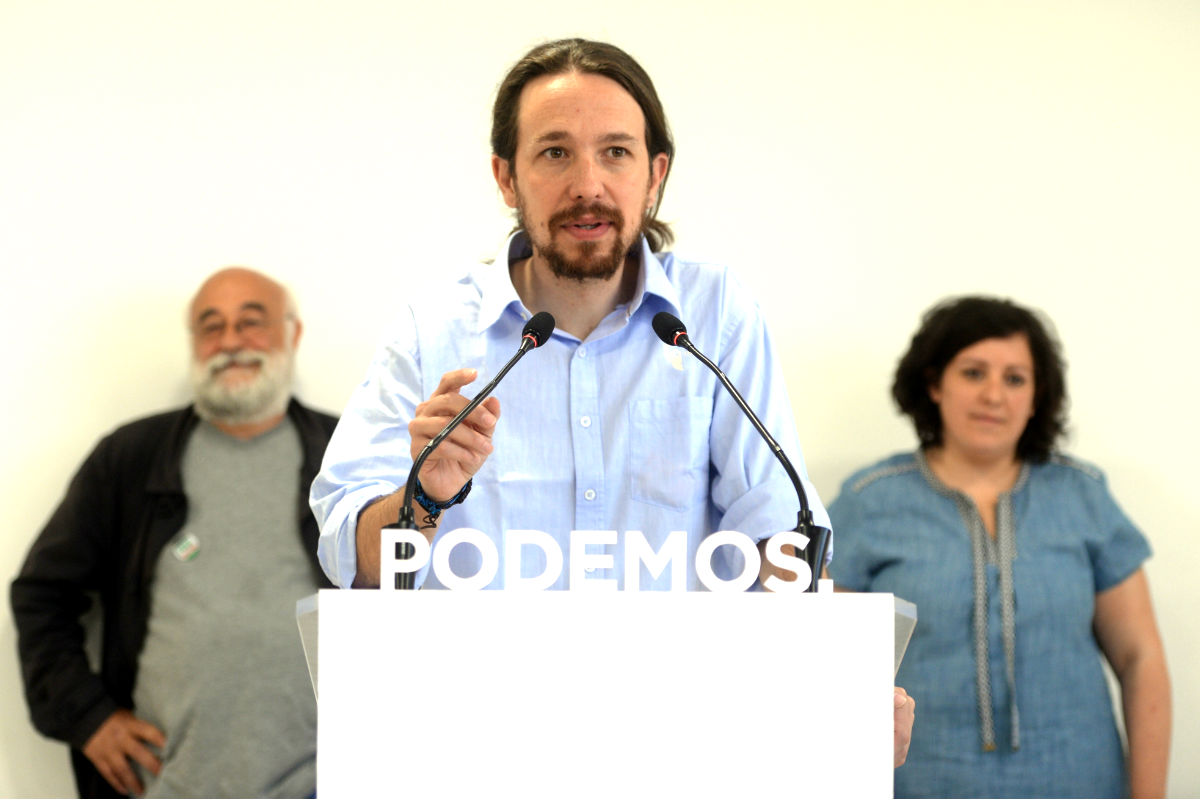 El líder de Podemos, Pablo Iglesias, en un acto del partido (Foto: Getty)