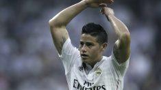 James Rodríguez se lamenta en un partido en el Bernabéu. (Getty)