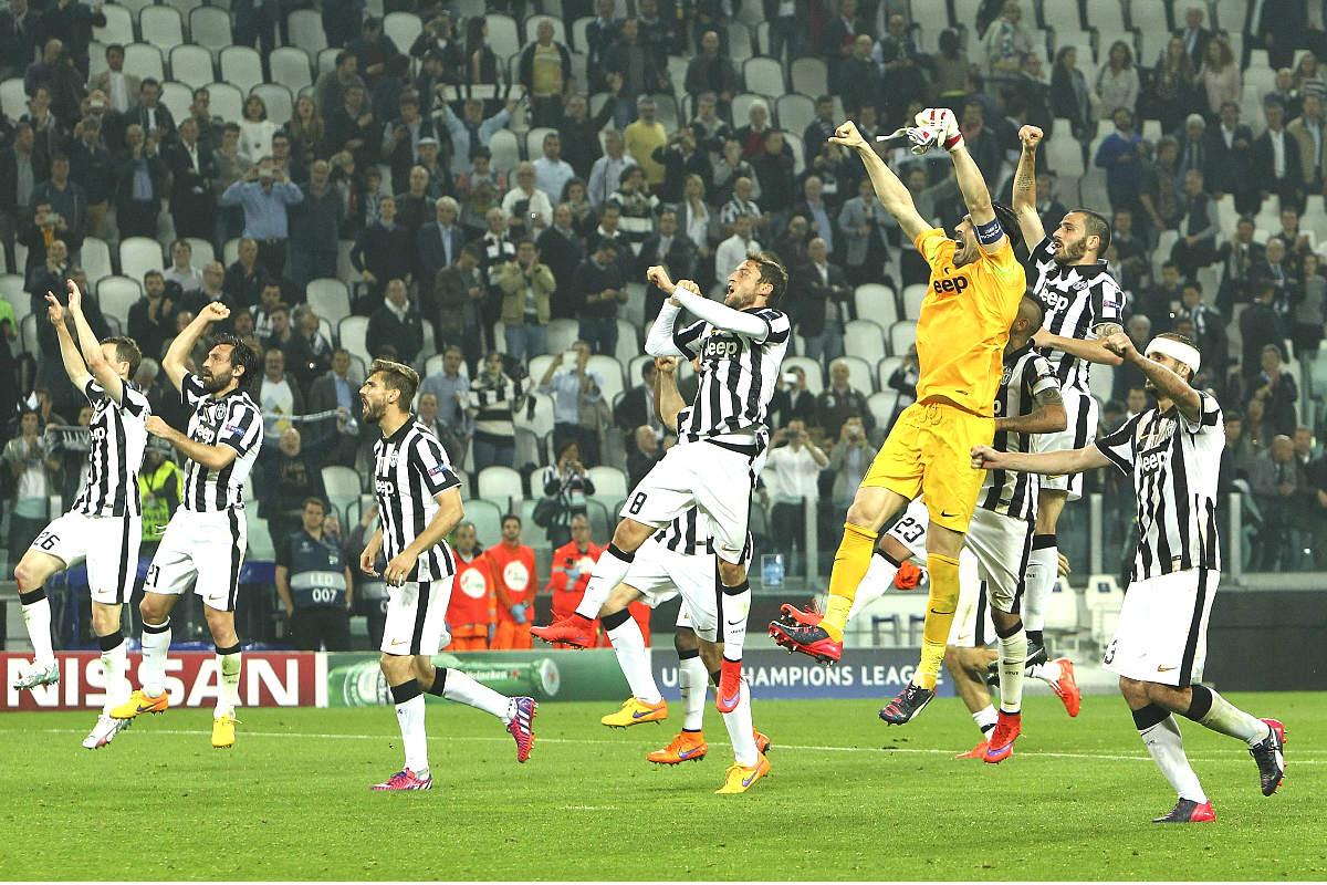 Los jugadores de la Juventus celebran la victoria ante el Real Madrid en las semifinales de la última Champions. (Getty)