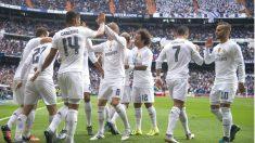 Los jugadores del Real Madrid celebran uno de los goles conseguidos ante Las Palmas. (AFP)