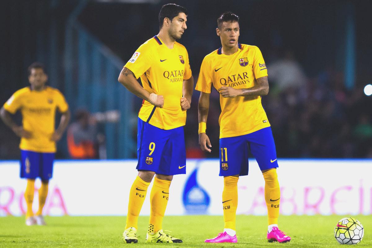 Neymar junto a Luis Suárez, en el partido que el Barça perdió en Balaídos. (Getty)