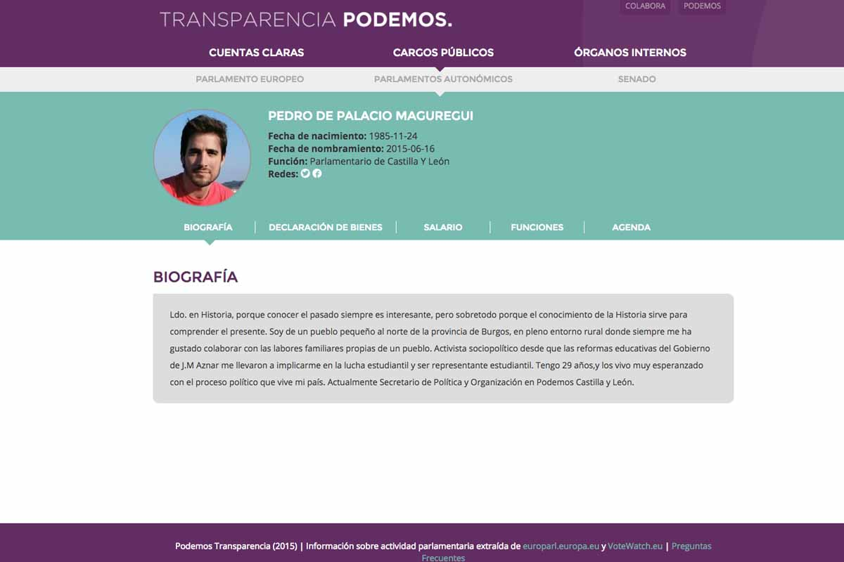 Imagen de la biografía de Pedro Palacio en la web de transparencia de Podemos