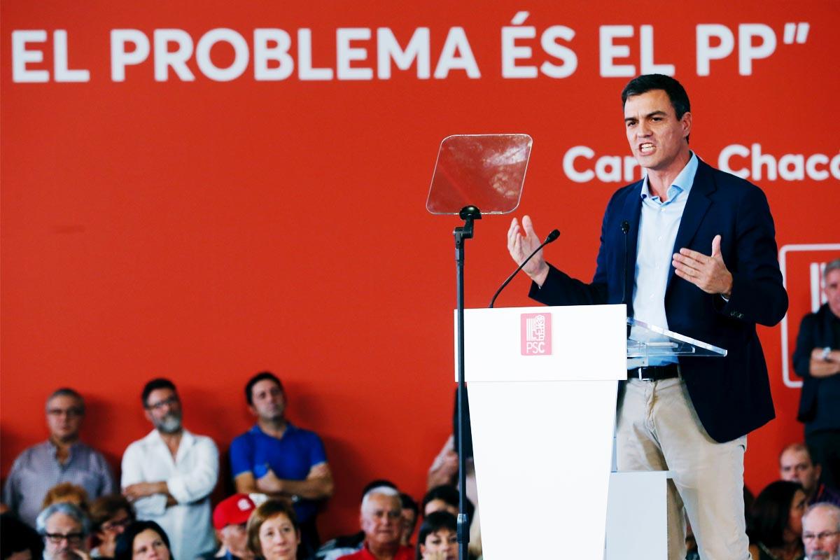 Pedro Sánchez en un acto hoy en Barcelona. (Foto: EFE)