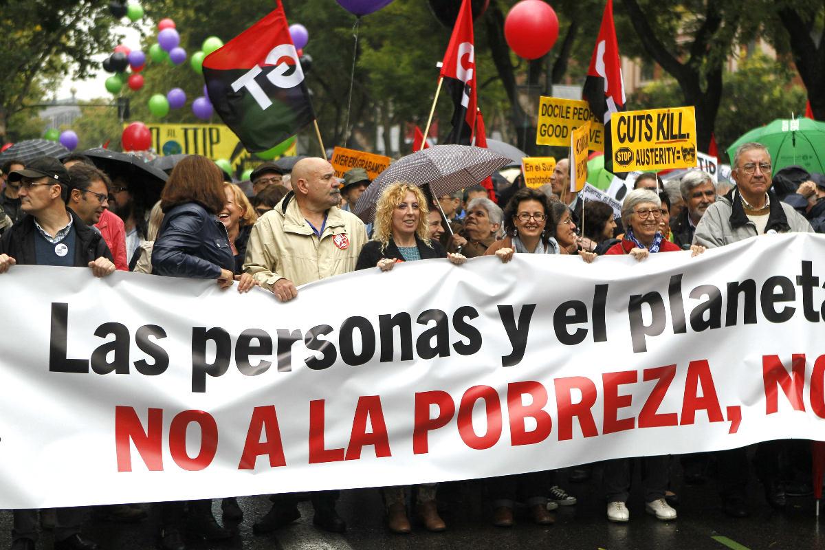 Manifestación contra la pobreza en Madrid (Foto: Efe)